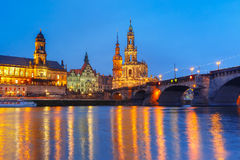 Old Town and Elba at night in Dresden, Germany Royalty Free Stock Image