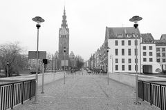 Old town of Elblag, Poland. Old town of Elblag in black and white, Poland Royalty Free Stock Image