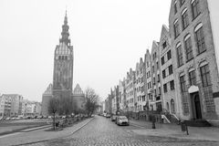 Old town of Elblag, Poland. Old town of Elblag in black and white, Poland Royalty Free Stock Photography
