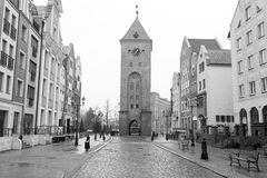 Old town of Elblag, Poland. Old town of Elblag in black and white, Poland Stock Images