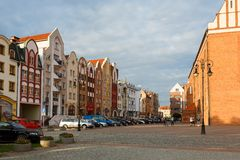 Old town in Elblag stock photo