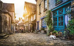 Old town in Europe at sunset with retro vintage Instagram style royalty free stock photos