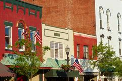Old town facades. Picturesque facades and storefronts in downtown Chagrin Falls, Ohio royalty free stock photos