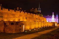 Old Town Fortification in Warsaw at Night Stock Image