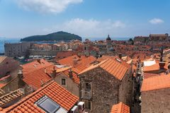 Old town and fortress of dubrovnik, croatia stock photo