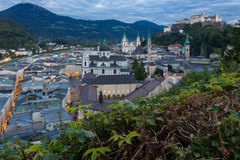 Old town and fortress at night. Salzburg. Austria Royalty Free Stock Image