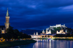Old town and fortress at night. Salzburg. Austria Stock Images