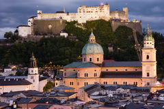 Old town and fortress at night. Salzburg. Austria Royalty Free Stock Photo
