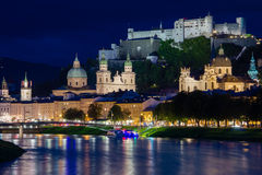Old town and fortress at night. Salzburg. Austria Stock Photos