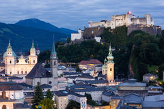 Old town and fortress at night. Salzburg. Austria Royalty Free Stock Photos