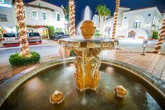 Old Town Fountain La Quinta. Southern California Architecture. Winter Time n the La Quinta, United States royalty free stock image