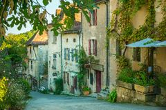 Old town in France with vegetation Royalty Free Stock Image