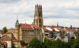 Old town of Fribourg, Switzerland. With cathedral  St.Nicholas Cathedral and 74 m high bell tower Stock Photos