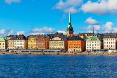 Old Town (Gamla Stan) in Stockholm, Sweden. Beautiful summer scenery of the Old Town (Gamla Stan) pier  and skyline in Stockholm, Sweden Royalty Free Stock Images