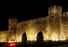 Old town gate in baku azerbaijan. By night Stock Image