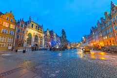 Old town of Gdanks with Christmas tree Stock Images