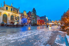 Old town of Gdanks with Christmas tree Stock Photo