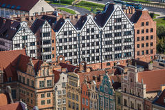 Old Town in Gdansk, aerial view from cathedral tower, Poland Royalty Free Stock Photography