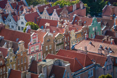 Old Town in Gdansk, aerial view from cathedral tower, Poland Stock Photos