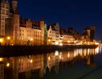 Old town of Gdansk with ancient crane at dusk, Poland Royalty Free Stock Photography