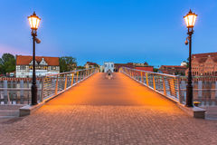 Old town in Gdansk and catwalk over Motlawa river Stock Photography