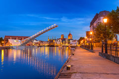 Old town in Gdansk and catwalk over Motlawa river Stock Photos