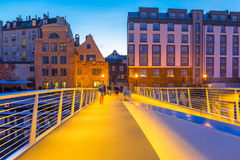 Old town in Gdansk and catwalk over Motlawa river Royalty Free Stock Photo