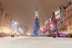 Old town of Gdansk with Christmas tree Stock Photos