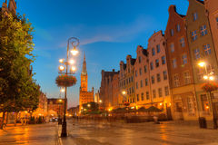 Old town of Gdansk with city hall at night Stock Images