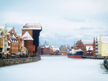 Moltawa river and the crane in Gdansk, Poland Royalty Free Stock Image