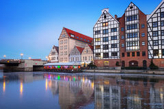 Old town of Gdansk at frozen Motlawa river Stock Photography