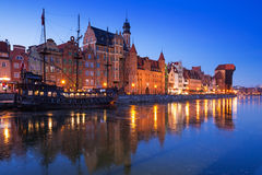 Old town of Gdansk at frozen Motlawa river Stock Image