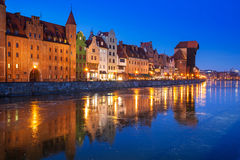 Old town of Gdansk at frozen Motlawa river Stock Photos