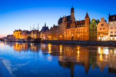 Old town of Gdansk at frozen Motlawa river Royalty Free Stock Photography