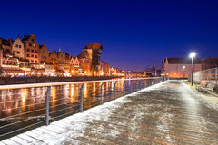 Old town of Gdansk at frozen Motlawa river Stock Images