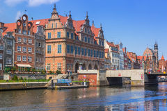Old town of Gdansk at Motlawa river in Gdansk Royalty Free Stock Photos