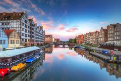 Old town of Gdansk at Motlawa river. At sunrise, Poland Royalty Free Stock Photos