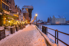 Old town of Gdansk at Motlawa river in winter, Poland Stock Photos
