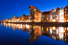 Old town of Gdansk at night. Old town of Gdansk with ancient crane at night, Poland Royalty Free Stock Photo