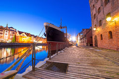 Old town in Gdansk at night Stock Images