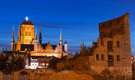 Old town in Gdansk at night. Architecture of old town in Gdansk at night, Poland Royalty Free Stock Images