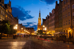 Old town of Gdansk at night. Old town of Gdansk with city hall at night, Poland Stock Photo