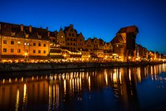 Old town in Gdansk at night. Poland Royalty Free Stock Photography