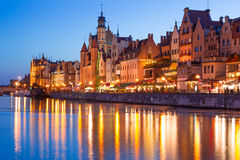 Old town of Gdansk at night Royalty Free Stock Image