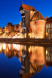 Old town of Gdansk at night in Poland. Old town of Gdansk with ancient crane at night, Poland Stock Photography