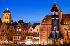 Old town of Gdansk at night in Poland. Old town of Gdansk with ancient crane at night, Poland Royalty Free Stock Image