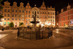 Old Town of Gdansk by Night in Poland Stock Image