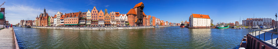 Old town of Gdansk panorama at Motlawa river Stock Photography