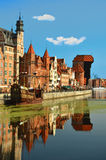 The Old Town of Gdansk. Picturesque scenery in the Old Town of Gdansk with Motlawa river Royalty Free Stock Photos