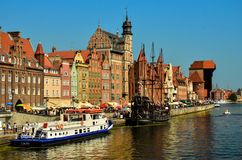 The Old Town of Gdansk. Picturesque scenery in the Old Town of Gdansk with Motlawa river Stock Photos